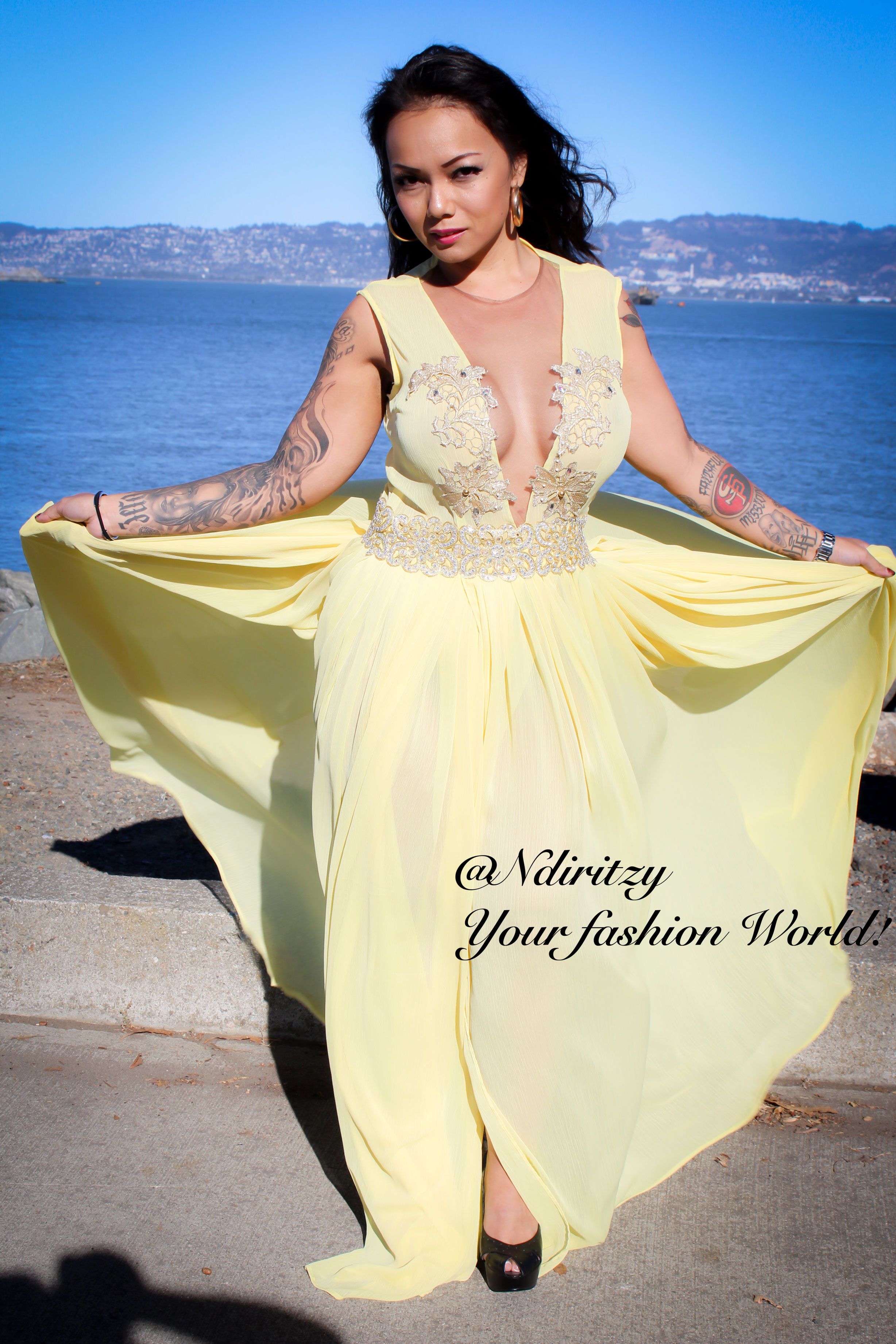 Bridesmaids fit and flare dress with a side slit ndiritzy yellow bridesmaids dresses ombrellifo Gallery